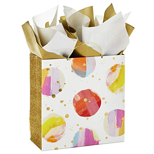 Hallmark Signature 10' Large Gift Bag with Tissue Paper (Modern Watercolor Dots, Gold Glitter) for Mother's Day, Baby Showers, Bridal Showers, Weddings, Birthdays, Any Occasion