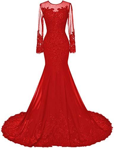 HUINI Brautkleid Lang Meerjungfrau Abendkleid Ballkleid Chiffon Glitzer Hochzeitskleid Damen Langarm Brautmutterkleider Rot 36