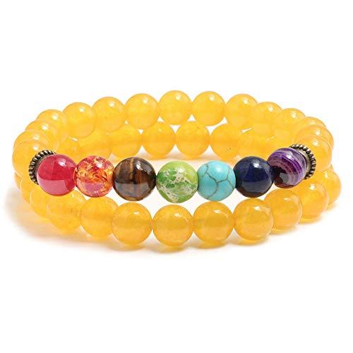 Zuiaidess Stein Armband Armreifen 2 Pcs/Set 7 Chakra Yoga Perlen Armband Elastisch 8 Mm Naturstein...