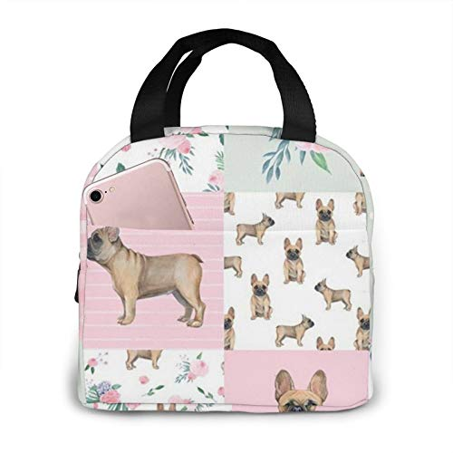Kslai Frenchie Watercolor French Bulldog Dog Frenchie Dog Wholecloth Lunch Bag Tote Bag Lunch Bag for Women Lunch Box Insulated Lunch Container