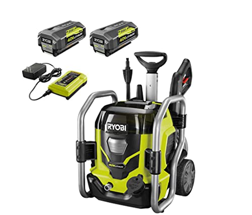 RYOBI RY40PW01DG9 1,500 PSI 1.2 GPM 40-Volt Cold Water Cordless Electric Pressure Washer with Two 5.0 Ah Batteries and Charger Included