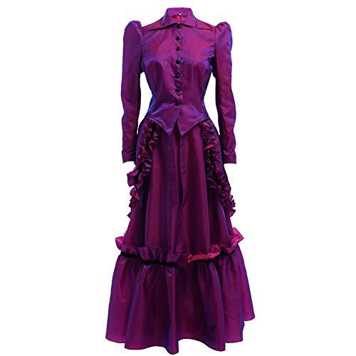 GRACEART Steampunk Edwardian Vestido de Chaqueta y Trajes de Falda con Bullicio (Púrpura, M)