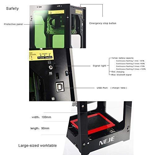 NEJE 1500mW Máquina de Grabado Láser Mini DIY Grabador Laser Bluetooth USB2.0 Máquina de Grabado 490x490 Filtro de Acrílico con Succión Magnética, Operación con un Solo Clic, Sin Necesidad de Código G