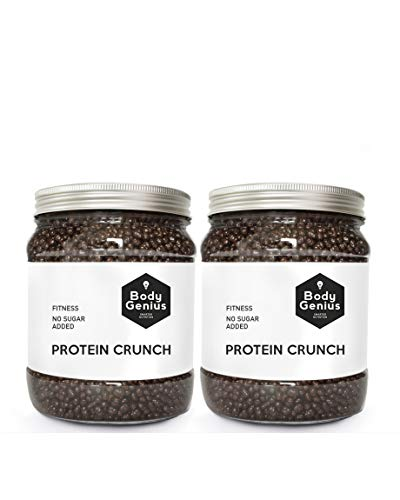 BODY GENIUS Dúo Protein Crunch (Chocolate Negro). 2x500g. Cereales Proteicos. Bolitas de Proteína Recubiertas de Chocolate Sin Azúcar. Bajo en Hidratos. Snack Fitness. Hecho en España.
