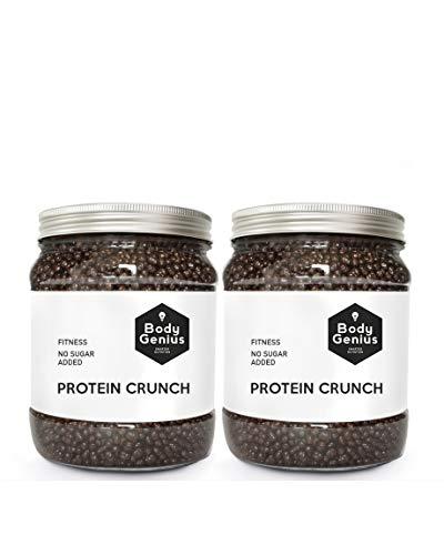 BODY GENIUS Dúo Protein Crunch (Cookies&Cream). 2X500G. Cereales Proteicos. Bolitas De Proteína Recubiertas De Chocolate Sin Azúcar. Bajo En Hidratos. Snack Fitness. Hecho En España.