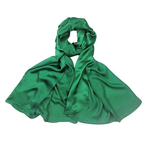 PB-SOAR 100% Seide Seidenschal Schal Halstuch Stola, einfarbiger Schal aus reiner Seide, schlicht und leicht, 8 Farben auswählbar (Grün)