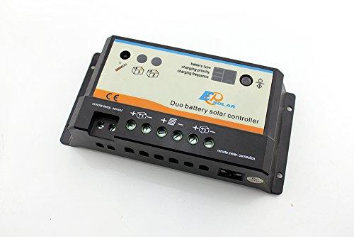 EPEVER PWM EPIPDB-Com 10A 12/24V Regulador de carga controlador de carga solar para 2 baterías diferentes batería doble