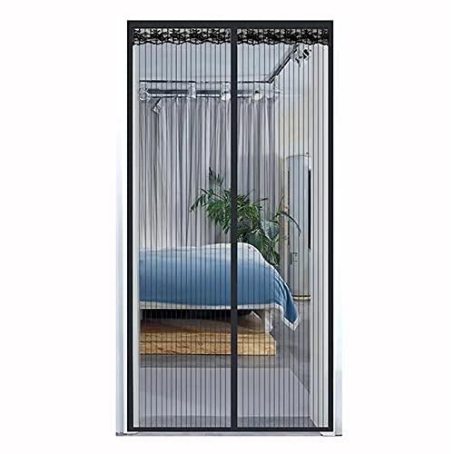 Mosquitera para puerta de balcón, sin agujeros, magnética, para puerta de terraza, salón, sótano, negro (100 x 210 cm)