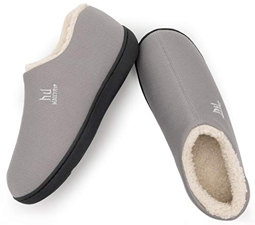 Men's Cozy Memory Foam Slippers with Warm Fleece Lining,Closed Back House Shoes with Non-Slip Indoor Outdoor Soft Rubber Sole,Grey,Size 10