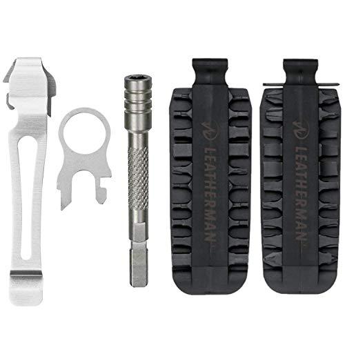LEATHERMAN – 42 Piece Bit Kit Set + Leatherman Bit Driver Extender – Silver + Leatherman Removable Pocket Clip & Quick-Release Lanyard Ring