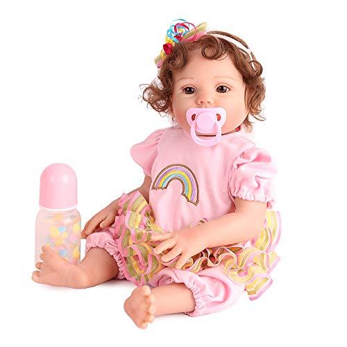 Reborn Baby Dolls Silicone Full Body, 17 inch Girl Doll Lifelike Realistic Reborn Girl Doll, Bath Toy Birthday Gift Set