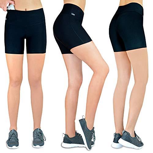 Damen Shorts Laufen Kurze Leggins [Innovative Hüfttasche für Handy] Sporthose Freizeithose Radlerhose | Fitness Sport Running Tights Stretch Yoga Jogging hoher Bund high Waist schwarz M