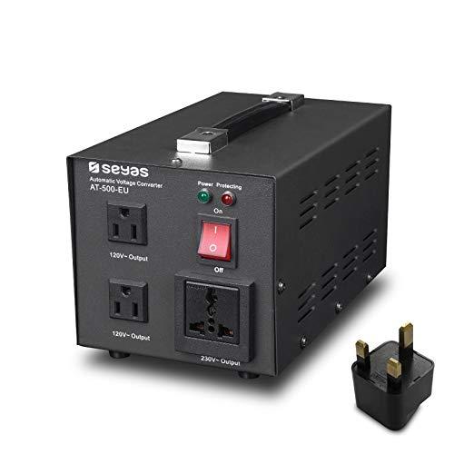 SEYAS 500W Spannungswandler USA Voltage Converter 220V auf 110V Transformator Automatisch Step Up & Step Down mit U.S. Patent (500W)
