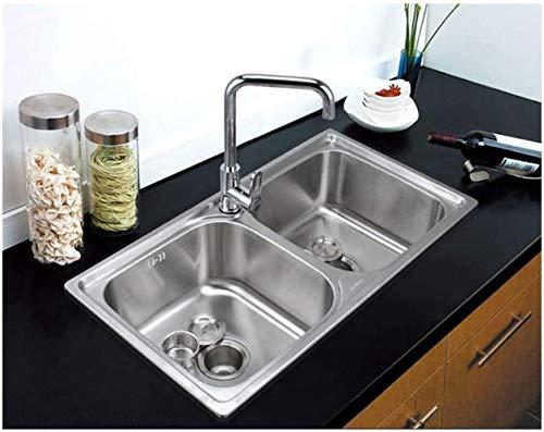 Kitchen Sink Küchenzubehör Doppelwaschbecken Aufsatz Küche Esszimmer Bar Farbe: Silber Größe: 78 * 42cm ZHJING
