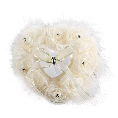 Almohada de Anillo: capullos de Flores de Rosa Almohada de Anillo en Forma de corazón para Accesorios de Boda(M-Blanco lechoso)