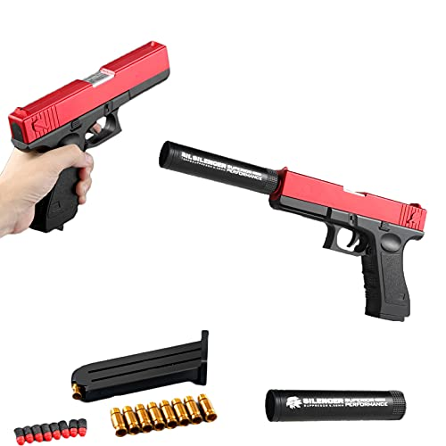 Classic Glock & M1911 Soft Bullet Toy Gun - 1: 1 Größe Jungen-spielzeugpistolen, Soft Bullet Spielzeugpistole Mit Granatauswurf, Bunte Spielzeugpistole (Glock Rot)