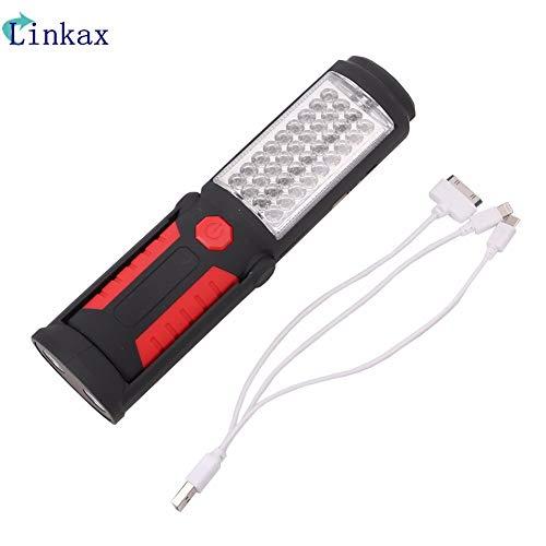 Lampe de travail 36 + 5 LED rechargeable par USB, lampe de poche magnétique d'urgence