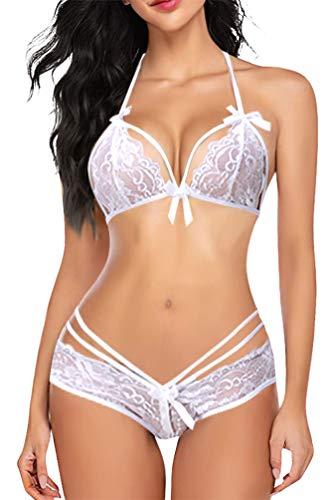 Umipubo Damen-Unterwäsche mit Spitze, Erotisches Netzgewebe, kurz, dünn, transparent, offen, Nachtwäsche, G-String, Dessous, Weiß M