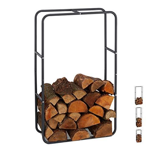 Relaxdays Kaminholzregal, Holzscheite Stapelhilfe, aus Stahl, innen und außen, Brennholzregal, HxB 100x60 cm, anthrazit