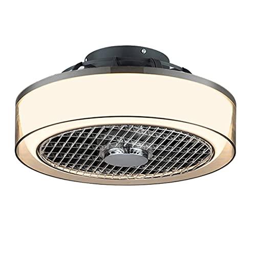 QJUZO 45W Ventilador De Techo con Lámpara LED, Moderna Lámpara De Techo Regulable con Control Remoto, Ultra Silencioso Ventilador Invisible para Comedor Dormitorio Sala De Estar Iluminación,A