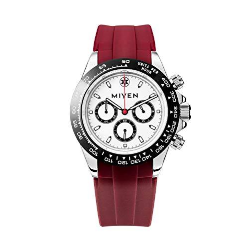 MIYEN MUNICH Voyager - Reloj cronógrafo para hombre con mecanismo de cuarzo Miyota de precisión, cristal de zafiro y función taquímetro, color plateado, negro/ rojo, Correas.