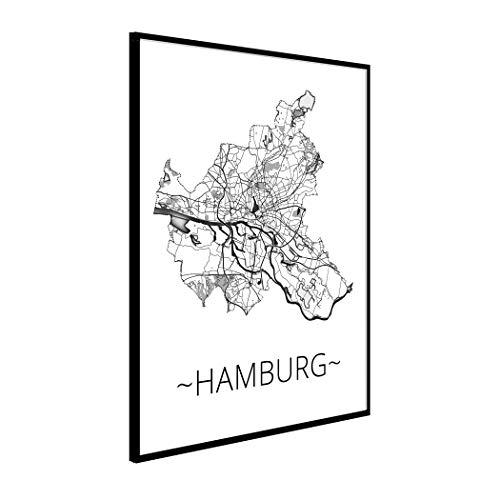 Stadtplan Hamburg Poster | Glasrahmen hochwertige Wandbilder Wohnzimmer DIN A3 Wanddeko Wohnzimmer modern Premium-Qualität Galerie-Rahmen deutsche Manufaktur Fotopapier