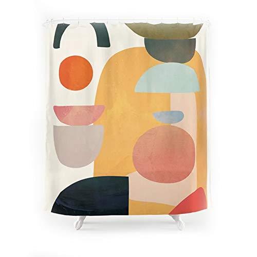 Shower Curtains Duschvorhang abstrakte geometrische nass und trocken Trennwand Vorhang wasserdicht (Color : B)