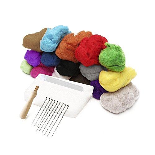 16 Colours Wool Fibre Materials Spinning Craft Materials Starter Kit Needle Felting Hand Spinning Materials Wool Felt Tool Set