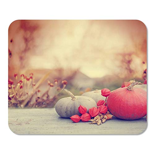 Mousepad Computer Notepad Office Autumn Nature Fall Pumpkins and Apples on Wooden Rustic Table Thanksgiving Home School Game Player Computer Worker Inch