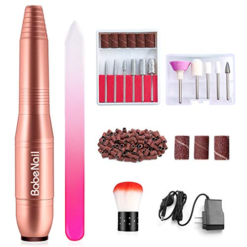 BabeNail Nail Drill Set Electrical Professional Nail File Kit for Acrylic, Gel Nails,Portable Handpiece File Grinder Manicure Pedicure Polishing Shape Tools Design for Home Salon-RoseGold