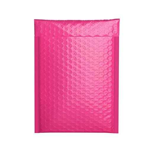 Bestyyo Sobres acolchados de burbujas, con forro de polietileno, autoadhesivo, de lámina metálica brillante, acolchada, ideal para comercialización, alternativa (rojo rosa, 13 x 18 cm)