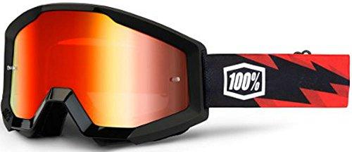 100% Strata Unisex Enduro Brille, Slash/Rot verspiegelte Linse