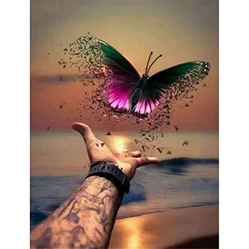 Yimze DIY 5d Diamond Painting Full Drill Kits Schmetterling Diamant Malerei Bilder Malen nach Zahlen Strass Stickerei Kreuzstich Arts Craft für Büro Wand Haus Dekoration 60x90cm H668