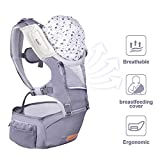 Bable Baby Carrier Hip Seat, Front and Back Baby Shoulder Carrier with Nursing Cover for Children 8-33 lbs, Omni 6-in-1 Newborn Baby Carriers for All Seasons, Baby Chest Carriers for Hiking, Flaxen