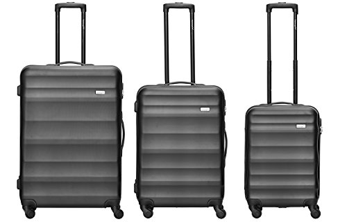 Packenger - Juego de 3 maletas de viaje - Timber – (M,L & XL) negro, 4 ruedas, con cerradura de combinación, maletín duro resistente (ABS)