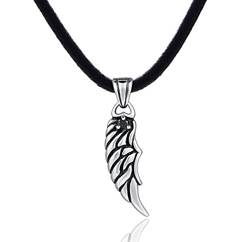 DonDon Collar de Cuero para Hombre 50 cm con Colgante de Acero Inoxidable alas de ángel
