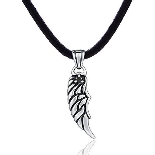DonDon Herren Lederkette Leder Halskette 50 cm mit Edelstahl Anhänger Flügel Schutzanhänger