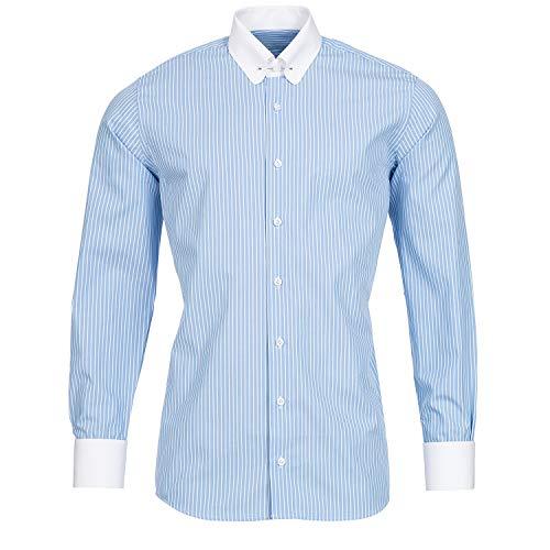 Schaeffer Hemd Slim Fit Streifen hellblau Piccadilly Kragen/Pin Collar weiß, Größe: M