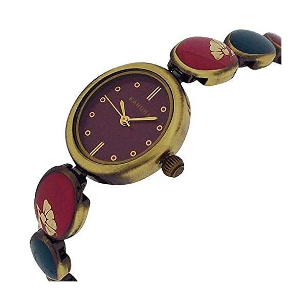 Kahuna Ladies Purple Dial Multicolour Brasstone Bracelet Strap Watch AKLB-0034L
