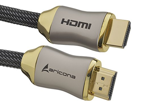 Aricona HDMI Kabel - Premium High End HDMI Kabel 1 Meter - Gold Serie - HDMI 2.0/1.4a - 4K Ultra HD, 3D, Full HD, 1080p, ARC, Ethernet