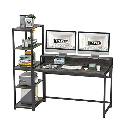 Teraves Computer Desk with 5 Tier Shelves,Reversible Writing Desk with Storage...