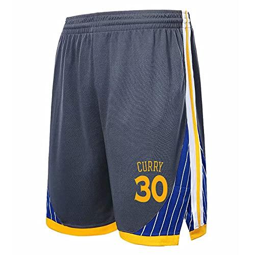 JZEL Warriors # 30 Shorts de Baloncesto de Stephen, Pantalones de Baloncesto Sueltos entrenando Pantalones sobre los Pantalones de la Bola de la Rodilla Pantalones de CIN Grey-XL