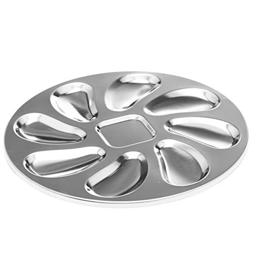 Stainless Steel Oyster Plate for Oysters, Sauce and Lemons, Oyster Shell Shaped Oyster Pan