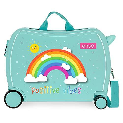 Enso Arcoiris Positive Vives Maleta Infantil Azul 50x39x20 cms Rígida ABS Cierre combinación 38L 2,1Kgs 4 Ruedas Equipaje de Mano