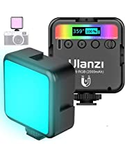 VL49 RGB Video Light w 3 Cold Shoes,Mini Rechargeable LED Camera Light 360° Full Color,Support Magnetic Attraction Portable Photography Light,2500K-9000K Dimmable LED Panel Light w LCD Display