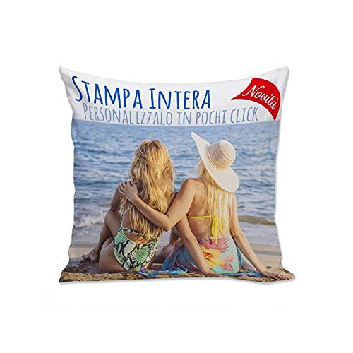 Cuscino Personalizzato con Foto e Testo - 40 x 40 cm Full Print - Imbottitura Morbida - Bianco