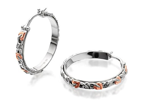 Clogau Womens Jewellery Tree of Life Sterling Silver And Rose Gold Hoop Earrings