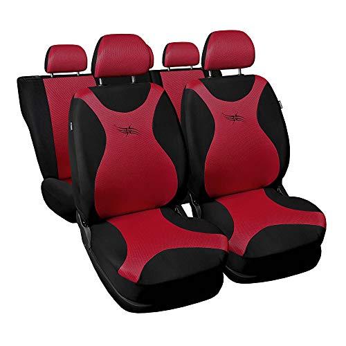 3er Set Saferide Autositzbezüge PKW universal | Auto Sitzbezüge Polyester Rot für Airbag geeignet | für Vordersitze und Rückbank | 1+1 Autositze vorne und 1 Sitzbank hinten teilbar 2 Reißverschlüsse