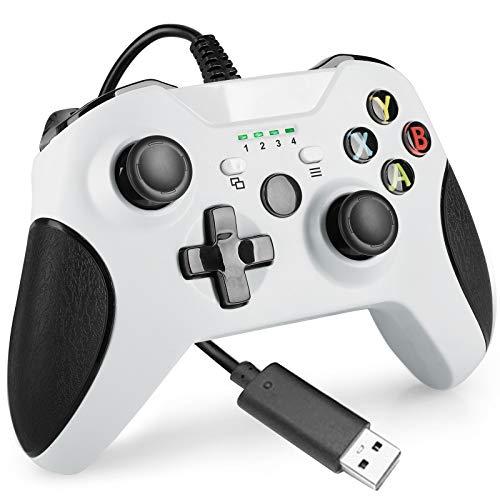 Manette Filaire pour Xbox One Double Vibration Contrôleur Compatible avec Xbox One / Xbox One S / Xbox One X Console et PC Windows 7 / 8 / 10(Blanche)