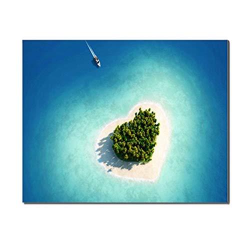 XIANGPEIFBH Cuadro en Lienzo Isla de Amor Decoración Imagen para Dormitorio Sala de Estar Decoración para el hogar Sala de Bodas Arte de la Pared Decoración del Marco 60x70cm (23.6